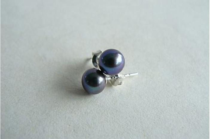 Grey Pearl Stud Earrings - Small