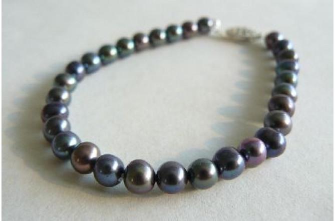 Grey Small Round Pearl Bracelet