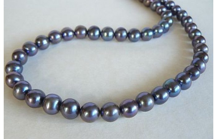 Grey Large Round Pearl Necklace