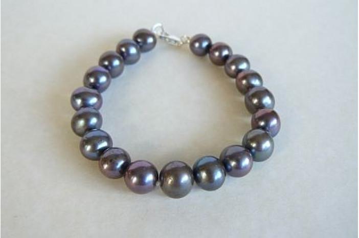 Grey Large Round Pearl Bracelet