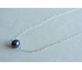 Single Grey Pearl on Silver Chain Necklace