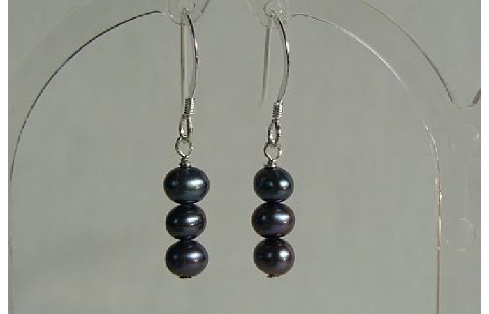 Grey Small Round Pearl Drop Earrings