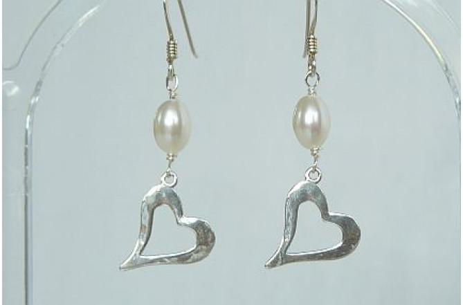 Open Heart & Pearl Drop Earrings