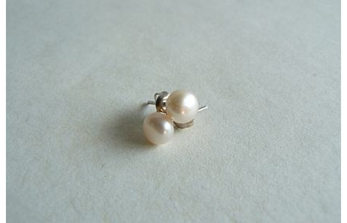 Hint of Pink Pearl Stud Earrings - Small