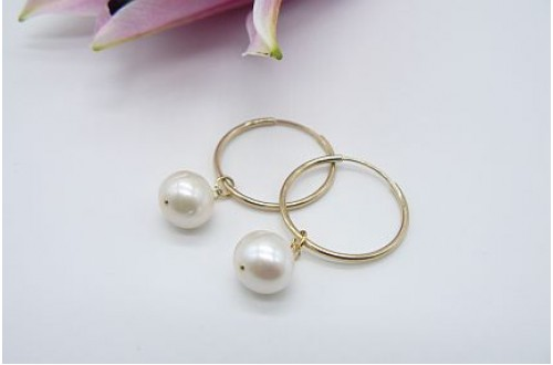 Pearl & Hoop Earrings - Goldfil