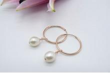 Pearl & Hoop Earrings - Rose Gold