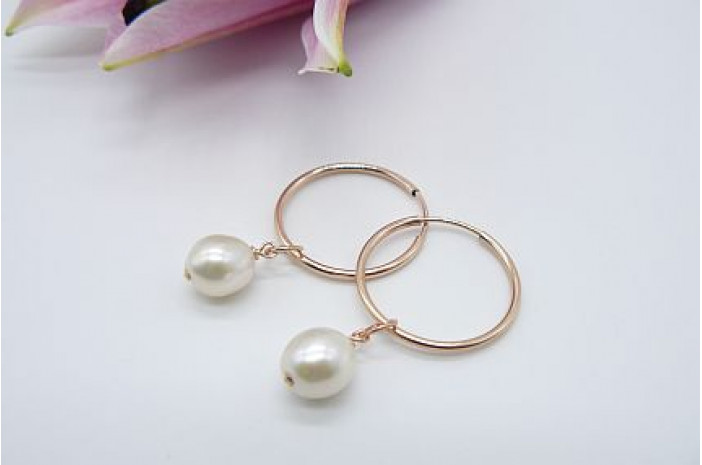 Pearl & Hoop Earrings - Rose Gold