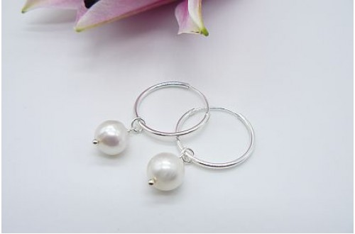 Pearl & Hoop Earrings - Sterling Silver