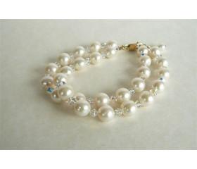 White Medium Round Pearl & Swarovski Crystal Bracelet