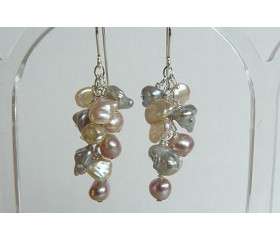 Pink Cream & Silver Keshi Pearl Drop Earrings