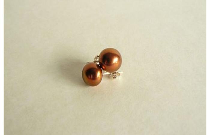 Light Bronze Pearl Stud Earring - Medium