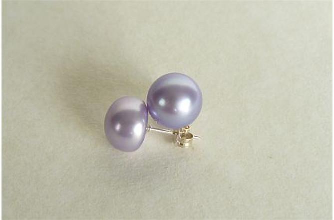 Light Purple Pearl Stud Earrings - Large