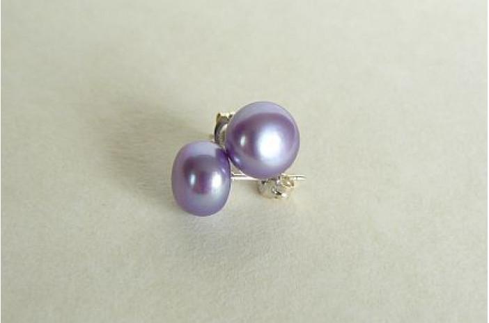 Light Purple Pearl Stud Earrings - Medium