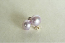 Lilac Pearl Stud Earrings - Medium