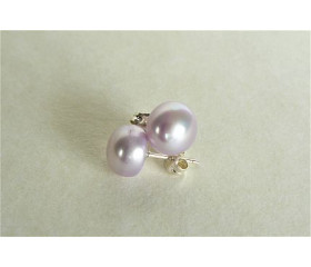 Lilac Pearl Stud Earrings - Medium