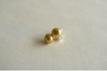 Lime Green Pearl Stud Earrings - Small