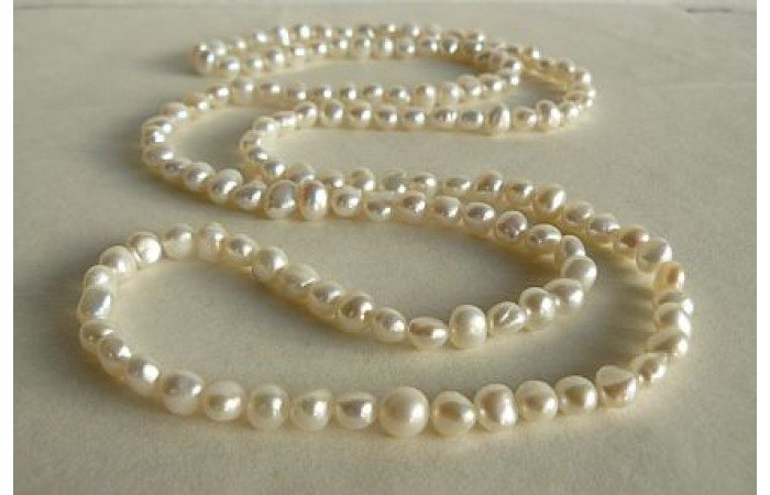White Baroque Nugget Pearl Long Necklace