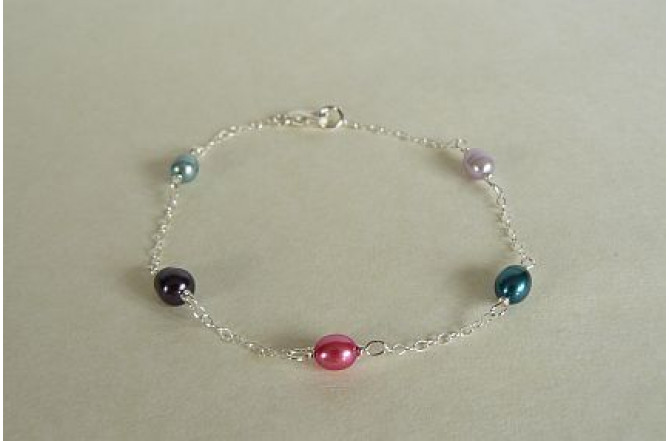 Summer Mixed Colour Pearls Bracelet on Fine Silver Chain