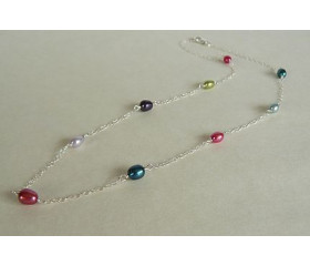 Summer Mixed Colour Pearls Necklace on Fine Silver Chain