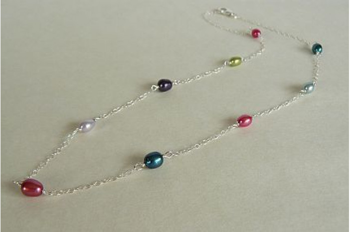 Summer Mixed Colour Pearls Necklace on Fine Chain