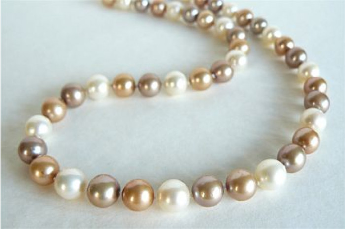 Gold Mixed Large Round Pearl Necklace