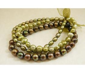 Green Pearl Elastic bracelets x 3