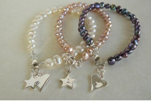 Personalised Letter Charm Pearl Bracelets