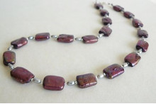Mulberry Rectangle Pearl Necklace