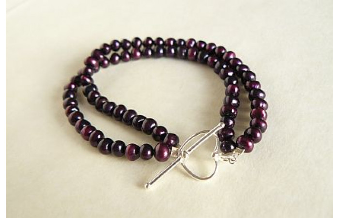 Mulberry Small Round Pearl Two Strand Bracelet