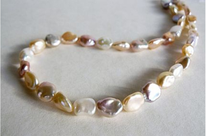 Natural Colour Long Keshi Pearl Necklace