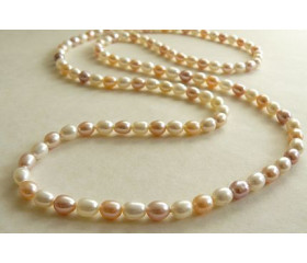 Natural Colour Long Pearl Necklace