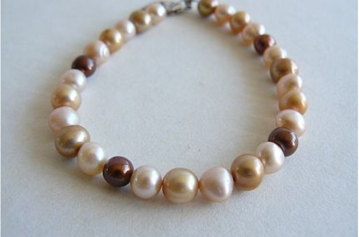 Gold, Peach and Bronze Pearl Bracelet