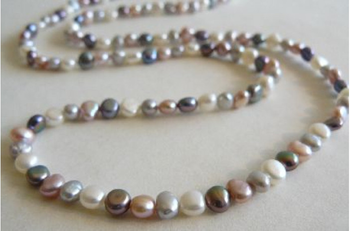 Pink White Grey & Silver Long Pearl Necklace