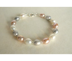Silver Pink & White Large Oval Pearl Bracelet