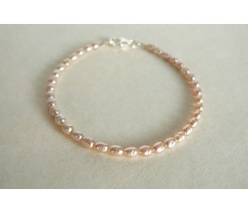 Pink Smallest Oval Pearl Bracelet