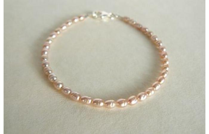 Pink Smallest Oval Pearl Bracelet