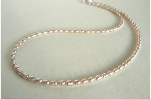 Pink Smallest Oval Pearl Necklace