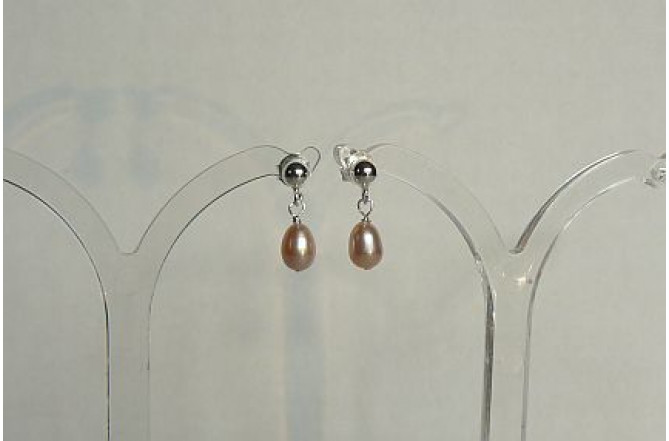 Pink Small Oval Pearl Stud Drop Earring