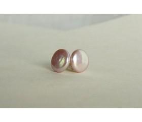 Pink Coin Pearl Stud Earrings