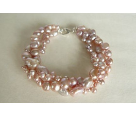 Pink Mixed Pearl Three Strand Bracelet