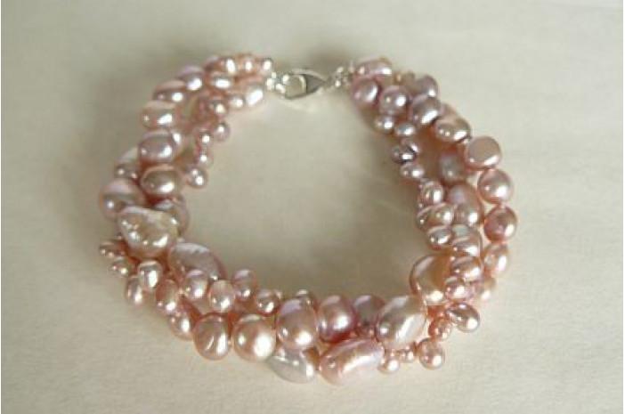 Pink Mixed Pearl Three Strand Bracelet