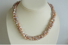 Pink Mixed Pearl Three Strand Twisted Necklace