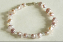 Pink Pearl, Rose Quartz & Crystal Glass Bracelet