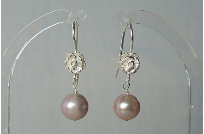 Pink Pearl Sterling Silver Flower Drop Earrings
