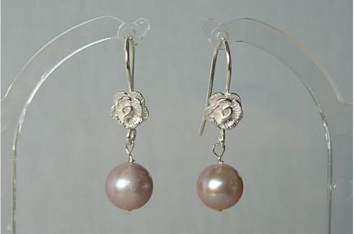 Pink Pearl Sterling Silver Flower Drop Earrings