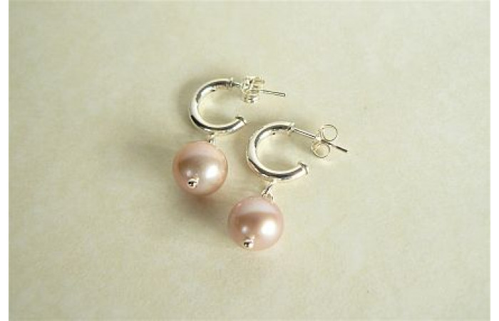 Pink Pearl Half-Hoop Earrings