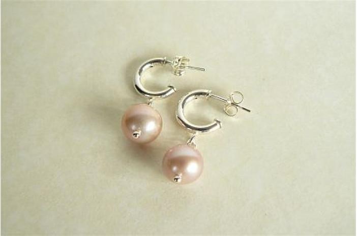 Pink Pearl Half Hoop Earrings