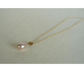 Children's Pink Pearl Pendant Necklace on Small Gold Chain