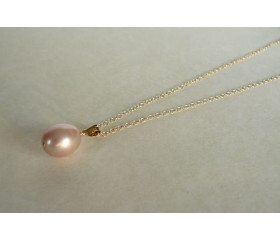 Pink Pearl Pendant Necklace on Small Chain