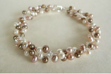Pink White & Coffee Pearl Two-Strand Bracelet